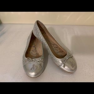Sam Edelman silver quilted flats
